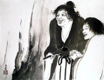 『寒山題壁』川合玉堂 昭和32年 紙本墨画 額装  59.8×76.0    水明館蔵